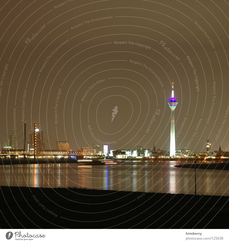 big city life Rheinturm Town Lifestyle Night life Transmit Transmitting station Long exposure Exposure Duesseldorf Modern Rhine Evening Street Blue Skyline