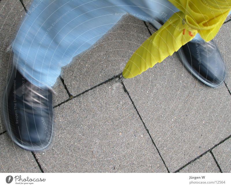 Human being Yellow Footwear Legs Jeans Umbrella Swing