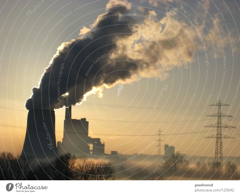 Sky Sun Calm Clouds Fog Energy industry Electricity Industrial Photography Smoke Electricity pylon Electricity generating station
