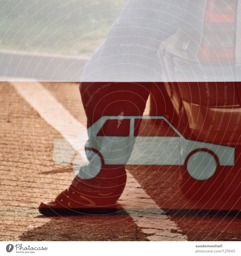 [Second car] Motor vehicle White Stripe Footwear Stand Rear light Double exposure Break Petrol station Highway Green Analog Colour Man Traffic infrastructure