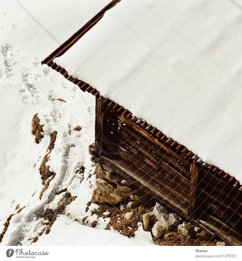 White Winter Cold Mountain Snow Wood Brown Derelict Hut Switzerland Alpine pasture