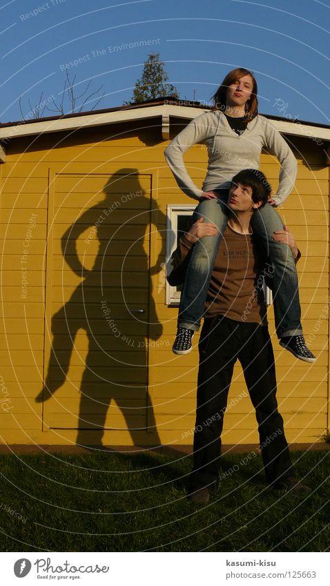 Woman Sky Man Youth (Young adults) Joy Yellow Meadow Playing Gardenhouse