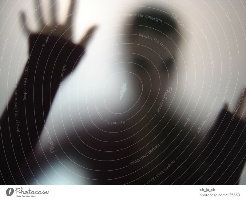 3 Woman Black Hand Light Progress Transience Window pane Glass Loneliness Shadow