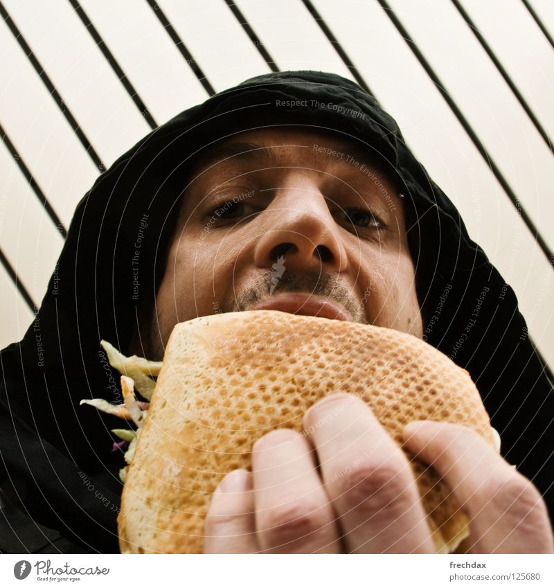 With everything and hot! Man Facial hair Fingers Bread Nostril Hooded (clothing) Sauce Kebab Turkey Lamb Delicious Midday Stripe Worm's-eye view Nutrition