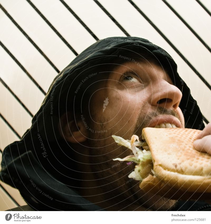 Man Face Black Nutrition Yellow Eating Nose Fingers Crazy Stripe Middle Square Facial hair Delicious Appetite Bread