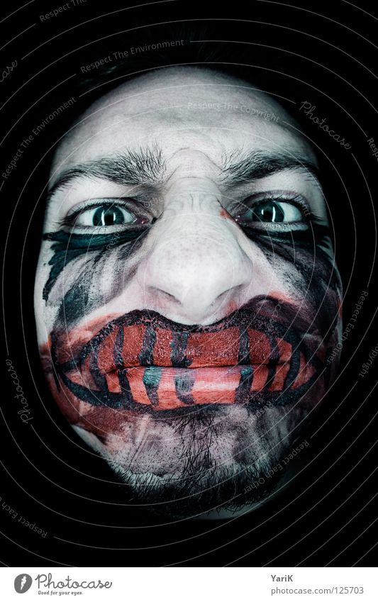 Blue Green Red Black Face Eyes Dark Gray Laughter Sadness Fisheye Fear Cosmetics Mouth Nose Grief