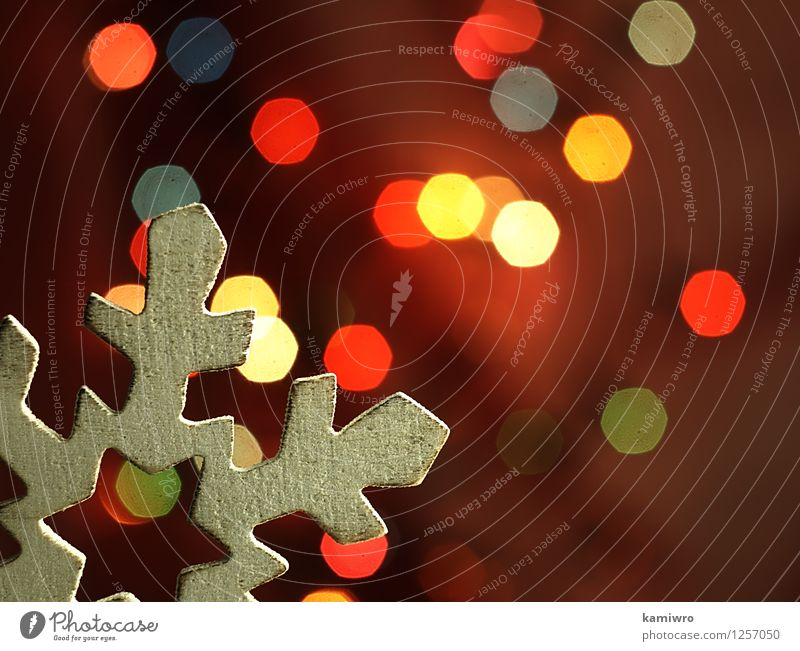 Wooden snowflake and Christmas lights. Christmas & Advent Green Beautiful Colour Red Winter Snow Happy Feasts & Celebrations Bright Glittering Design Decoration