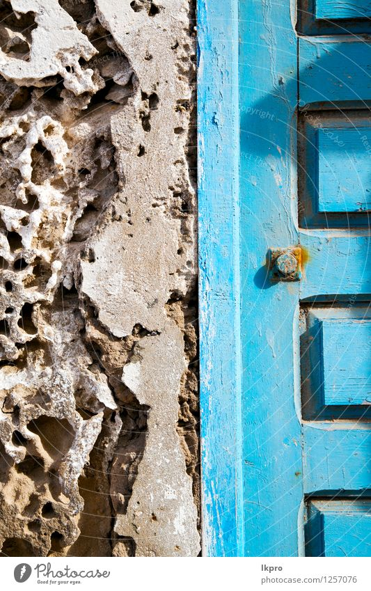 metal brown morocco in Old Blue Architecture Style Building Metal Design Decoration Dirty Door Retro Protection Safety Safety (feeling of) Ancient