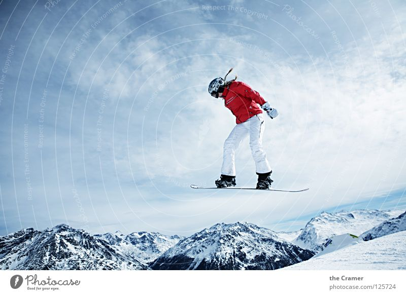 Blue Red Calm Winter Snow Sports Playing Flying Above Jump Action Success Tall Cool (slang) Alps Snowcapped peak