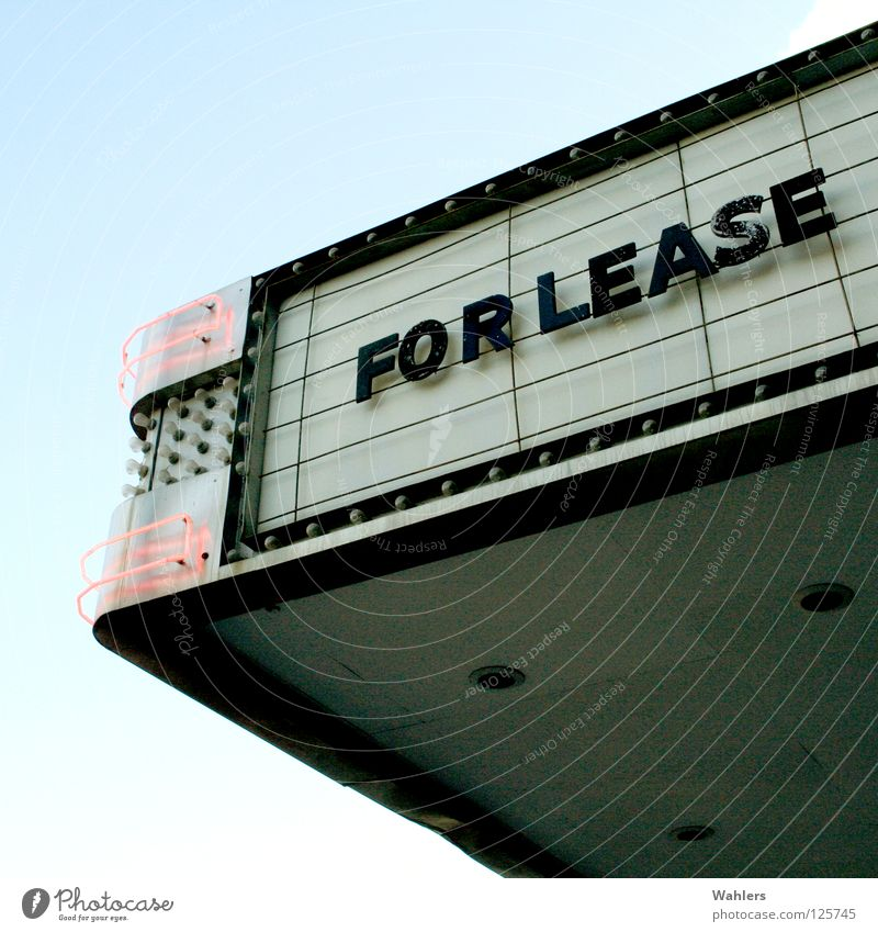 For Lease Advertising Lamp Neon light Cinema Letters (alphabet) Typography Roof Facade Detail Rent Free Loneliness Signs and labeling comedy Sky Theatre