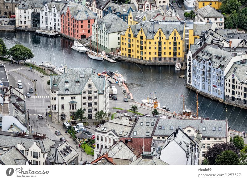 View of Ålesund Vacation & Travel House (Residential Structure) Fjord Town Downtown Harbour Building Architecture Tourism Norway Møre og Romsdal outlook voyage