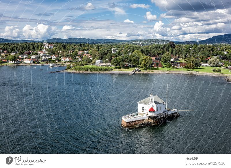 Lighthouse in the Oslofjord Relaxation Vacation & Travel Island House (Residential Structure) Nature Landscape Water Clouds Tree Forest Coast Fjord Town