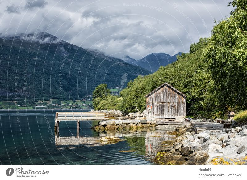 Boathouse at the Storfjord Relaxation Vacation & Travel Mountain Water Clouds Grass Fjord Old Idyll Nature Tourism Norway North Dal Møre og Romsdal boathouses