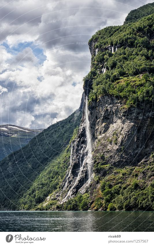 Waterfall in the Geirangerfjord Relaxation Vacation & Travel Mountain Nature Landscape Clouds Fjord Idyll Norway Seven Sisters Møre og Romsdal destination Sky