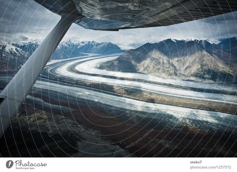 Glacier Highway Mountain In the plane Flying Esthetic Cold Movement Symmetry Far-off places Yukon Territory Kluane National Park Ice Ice age Wing tip Large
