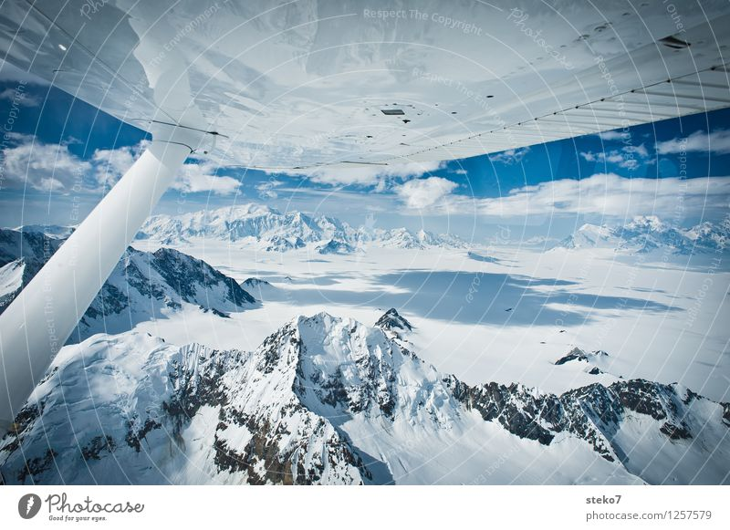 Blue Far-off places Cold Mountain Freedom Flying Horizon Ice Tall Frost Infinity Pure Glacier Gigantic Alaska In the plane