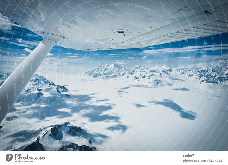 Blue White Loneliness Far-off places Cold Mountain Flying Horizon Peak Infinity Snowcapped peak Glacier In the plane Yukon Icefield