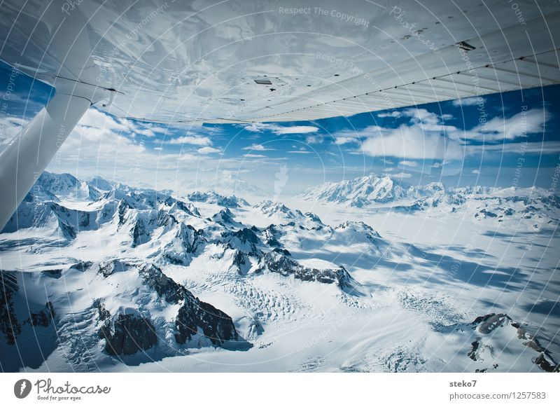 Blue White Loneliness Far-off places Cold Mountain Flying Horizon Ice Free Peak Infinity Snowcapped peak Glacier Gigantic In the plane