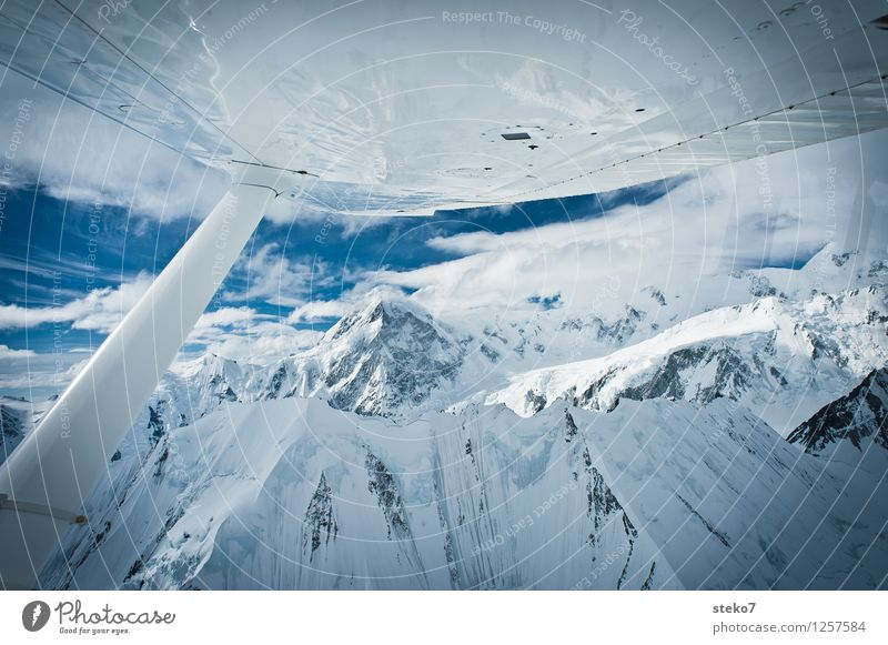 Blue White Loneliness Cold Mountain Flying Glittering Ice Peak Snowcapped peak Pure Gigantic In the plane Yukon