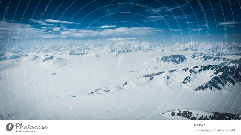 Blue White Loneliness Far-off places Winter Cold Mountain Snow Horizon Ice Infinity Frost Snowcapped peak Glacier Gigantic Alaska