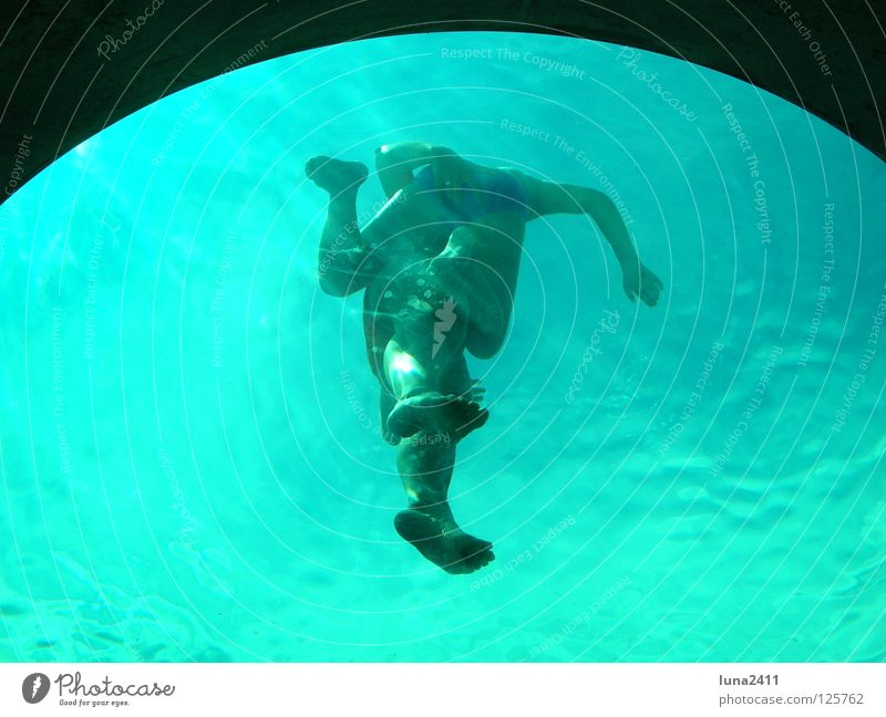 Observer under water Swimming pool Turquoise Under Swimmer (professional sportsman) Porthole Waves Aquatics Playing Water Blue Underwater photo Human being Legs