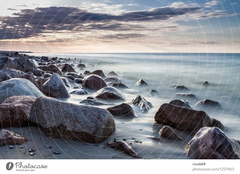 Stones on the Baltic coast Relaxation Vacation & Travel Beach Ocean Landscape Water Rock Coast Baltic Sea Blue Nature Break water Mecklenburg-Western Pomerania