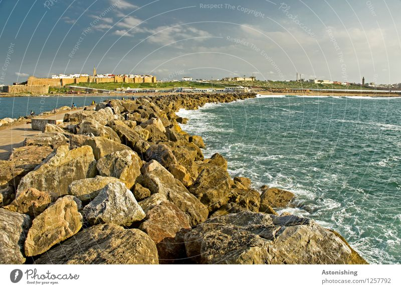 the curve to Rabat Environment Nature Landscape Sky Clouds Summer Weather Beautiful weather Plant Rock Waves Coast Ocean Atlantic Ocean Morocco Town