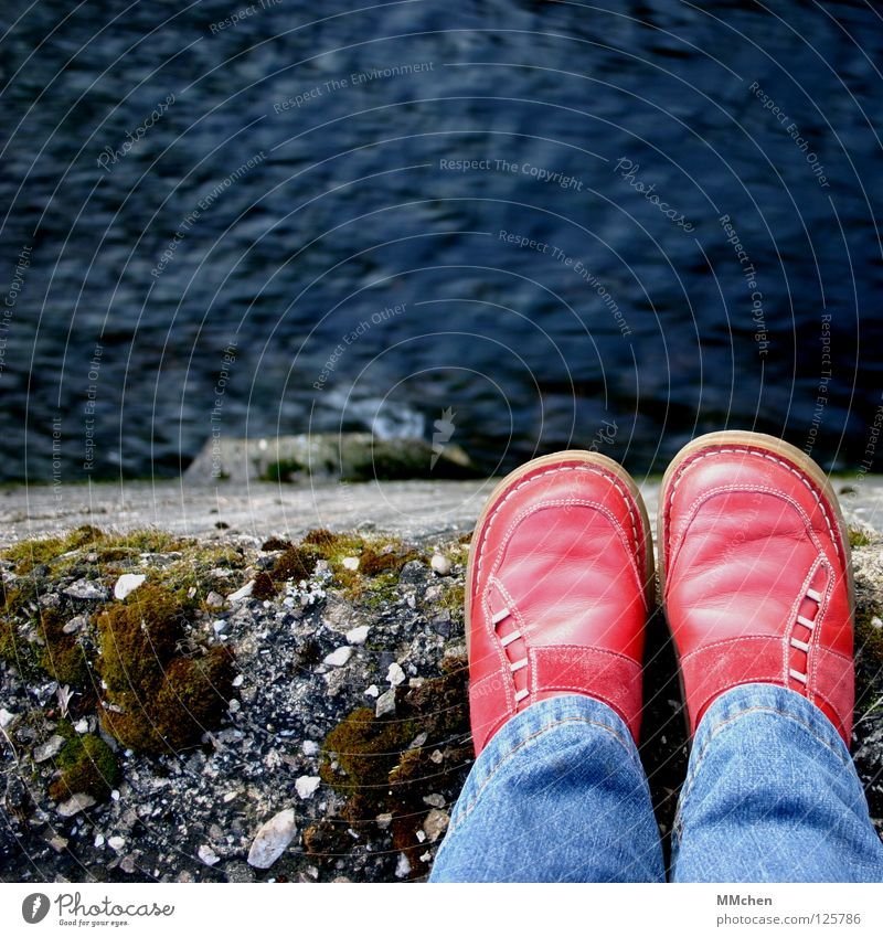 Water Red Stone Sadness Wall (barrier) Footwear Rock Grief Bridge Jeans River End Brave Brook Edge Flow