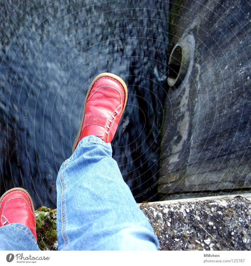Spring´ is! Edge Wall (barrier) Footwear Exceed Red Bridge Grief Distress Water River Stone Rock Jeans changed sides red shoes Scaredy-cat spring´doch Sadness