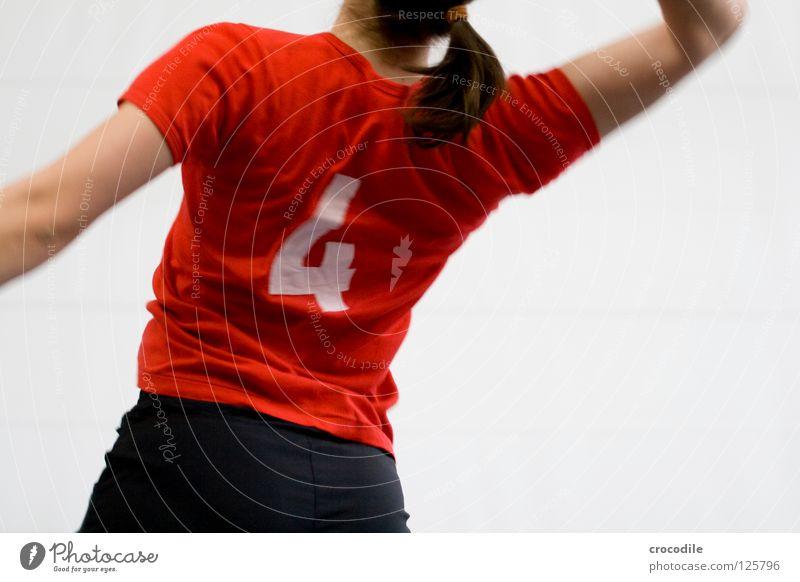 #4 Playing Ball sports Red T-shirt Top Thin Feminine Woman Pants Speed Beat Braids Dark Joy k12 k13 volleyball wdg Movement Back Blur Hair and hairstyles