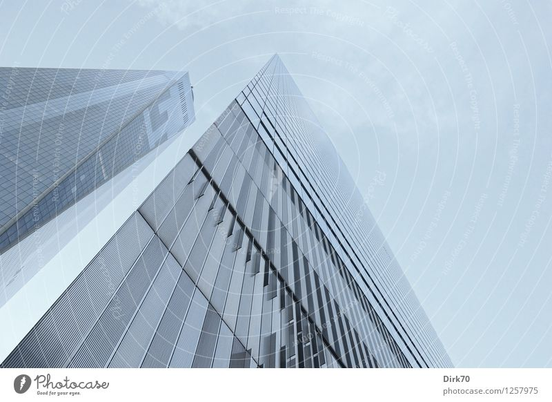 Sky City Blue Loneliness Cold Exceptional Lifestyle Line Facade Business Glittering Dream Growth Elegant Modern Glass