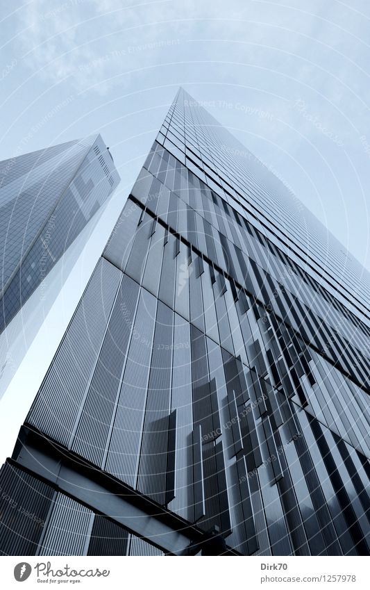 Sky Loneliness Clouds Metal Facade Business Design Growth Elegant Modern Glass Success Perspective Tall Future Threat