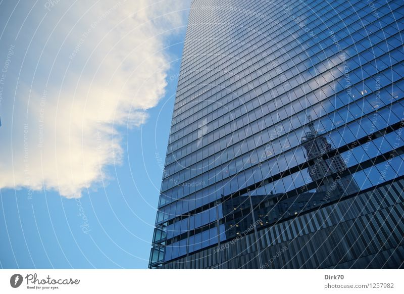 City Blue White Clouds Window Black Cold Architecture Metal Facade Business Glittering Growth Modern Glass High-rise