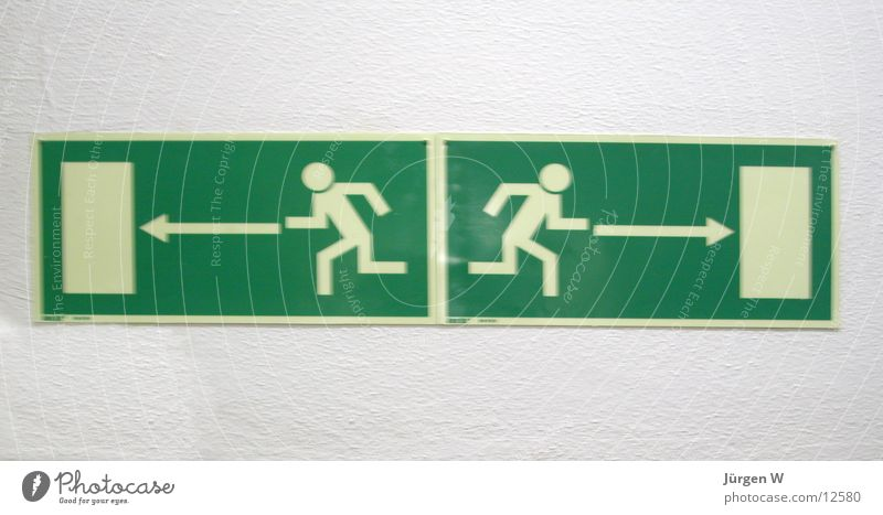 Human being Signs and labeling Ask Arrow Direction Signage Way out Left Right Whereto Emergency exit