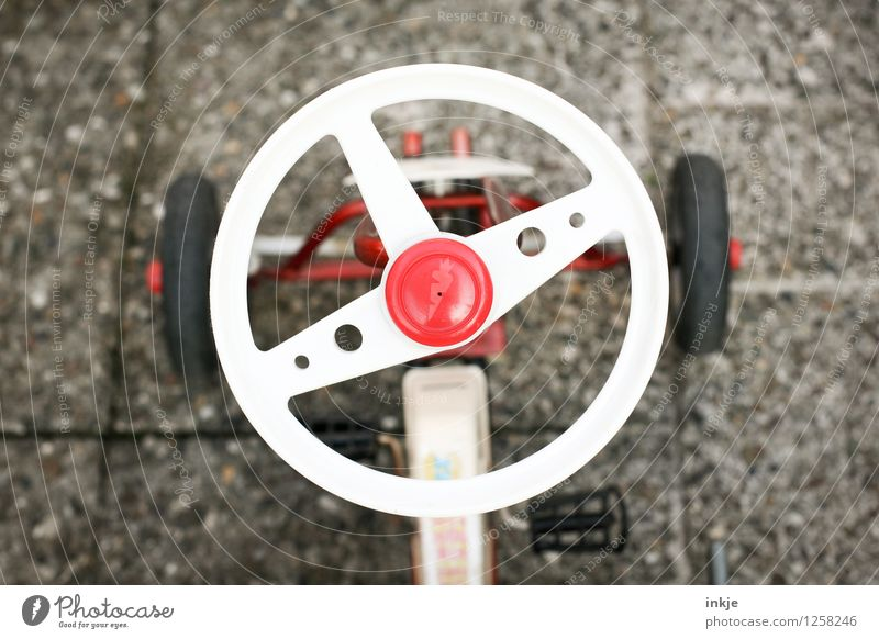 Old White Red Playing Lifestyle Design Leisure and hobbies Retro Childhood memory Kindergarten Nostalgia Seventies Former Classic Children's game Steering wheel
