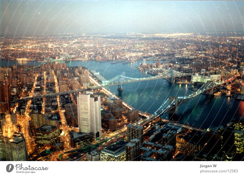 Dusk in New York New York City Twilight Light North America River Bridge Lighting USA Manhattan Panorama (View) Far-off places Vantage point Bird's-eye view