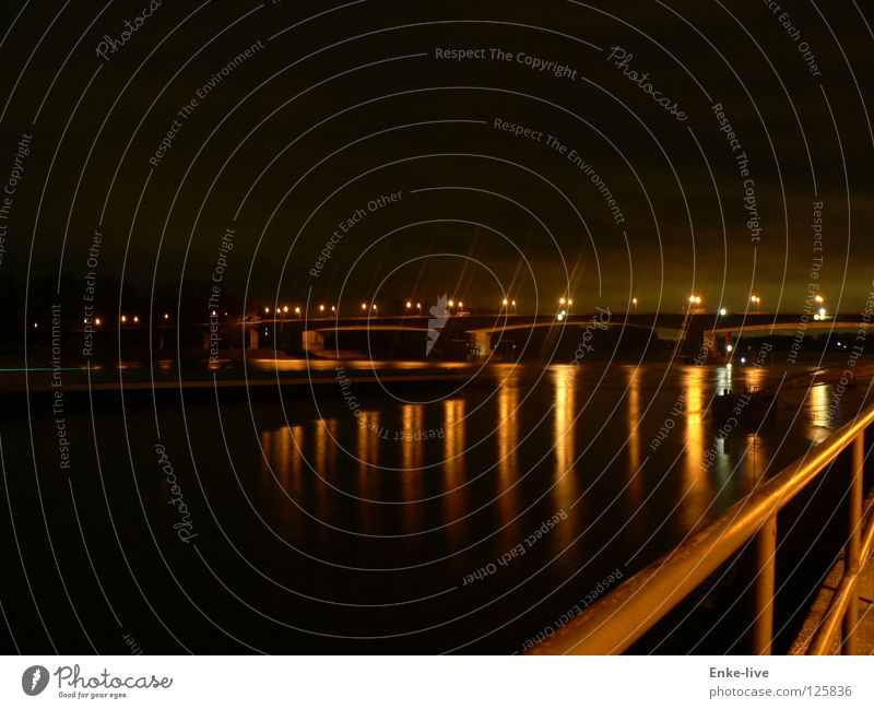 Water Black Dark Watercraft Gold Bridge River Handrail Dusk Rhine Night shot Worms