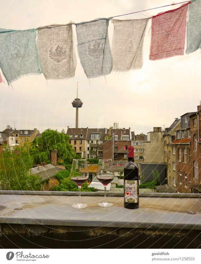 home is where your heart beats Wine Well-being Adventure Summer Summer vacation Living or residing Dream house Sunrise Sunset Cologne-Ehrenfeld Skyline Terrace