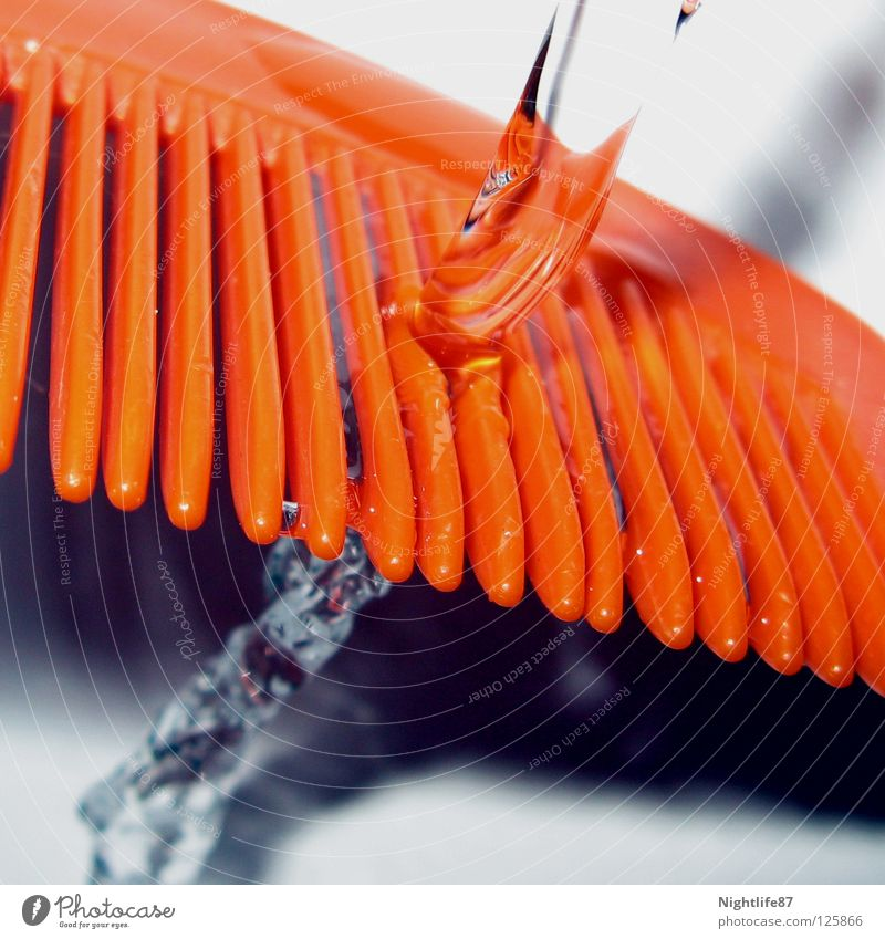 combed water Radiation Jet of water Clean Bathroom Tap Fluid Cleaning Waste of water Colour Beautiful Water Comb Orange Brush Hairdressing Drainage run