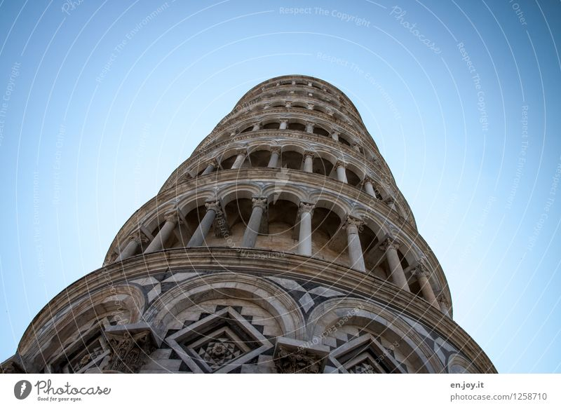 Vacation & Travel Blue Building Exceptional Contentment Tourism Tall Idea Italy Tower Tilt Manmade structures Fear of heights Wanderlust Cloudless sky Landmark