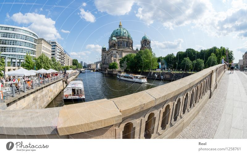 Berlin Germany Town Capital city Downtown Old town Church Dome Tourist Attraction Oberpfarrkirche zu Berlin Blue Sightseeing Bridge Bridge railing Spree