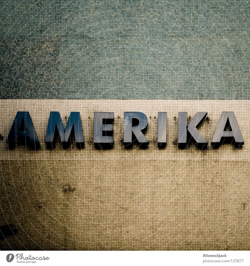 i like to be in... Americas USA Continents Mosaic Wall (building) Letters (alphabet) Dirty Typography Detail Characters incontinent double continent Stone Old
