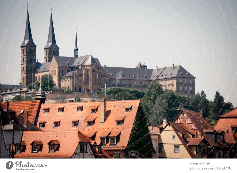 Tourist Magnet Design Calm Trip Summer Old town Cloudless sky Beautiful weather Town Bamberg Bavaria Germany Small Town House (Residential Structure) Stone Roof