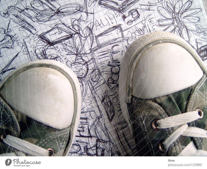 Shoes are made for walking Boredom Scribbles Broken Footwear Dirty Flower Block Clothing shoes Chuck's Graffiti lubricating walks Characters check paper