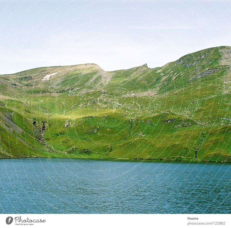it greenens so greenly Meadow Summer Lake Green Bernese Oberland Hiking Grindelwald Switzerland Mountain Alpine pasture alp cheese mountain hut Blue Tall Hail