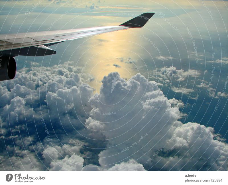 Sky Water Sun Ocean Clouds Air Airplane Wing Asia Thailand Engines