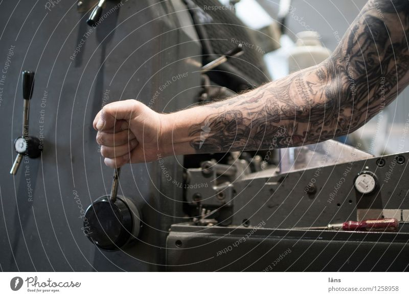 pressure Work and employment Workplace Factory Print shop Media industry Printing machine Human being Masculine Man Adults Arm 1 Utilize Movement Effort Tattoo