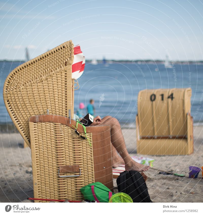 Beach day III Human being Legs 1 18 - 30 years Youth (Young adults) Adults Environment Nature Sand Coast Baltic Sea Ocean Blue Brown Joy