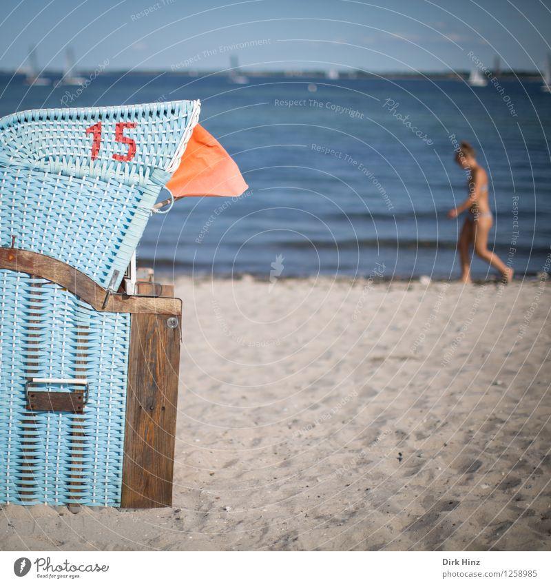 Beach day II Feminine Woman Adults 1 Human being 30 - 45 years Environment Nature Sand Water Sky Horizon Summer Waves Coast Baltic Sea Ocean Maritime Blue Gray