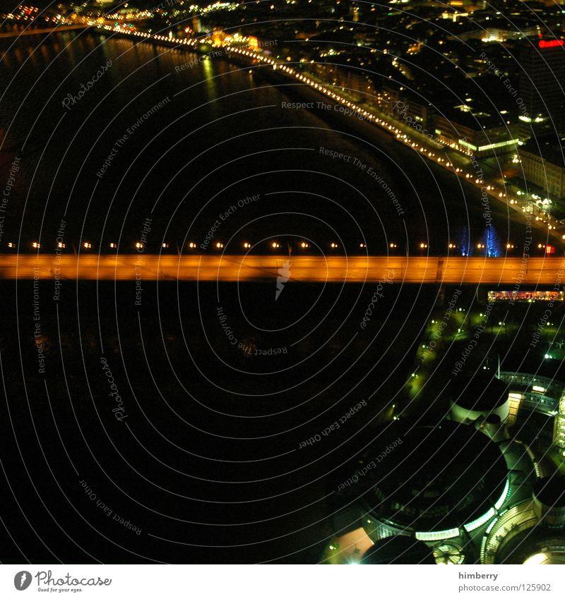City Blue Street Lamp Lighting Large High-rise Lifestyle Bridge Modern Tower Point Skyline Duesseldorf Exposure